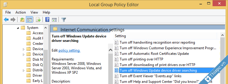 Cai dat tuy chon disable update driver