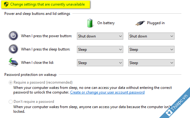 Nhan vao change settings that are currently unavailable