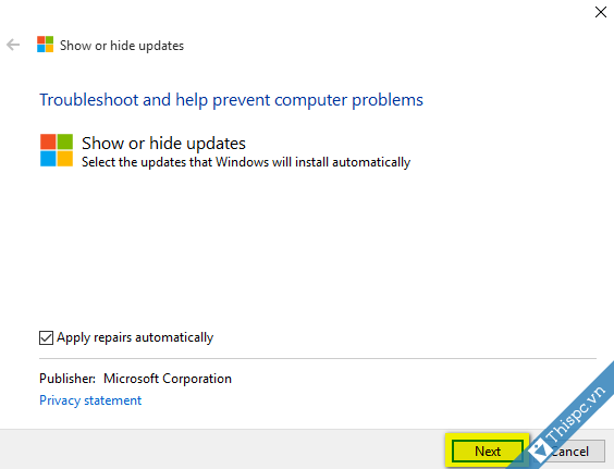 Show hide update windows