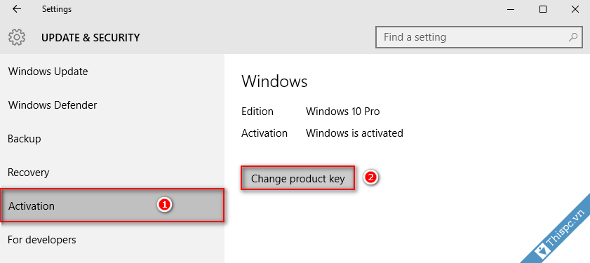 Thay product key windows 10