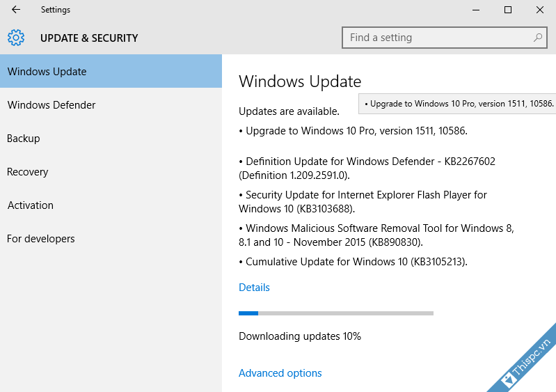 Windows update windows 10 1151